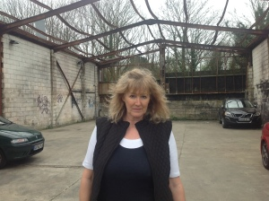 Photo Pam Lewis at the Industrial Estate at North Street where buildings remain empty.